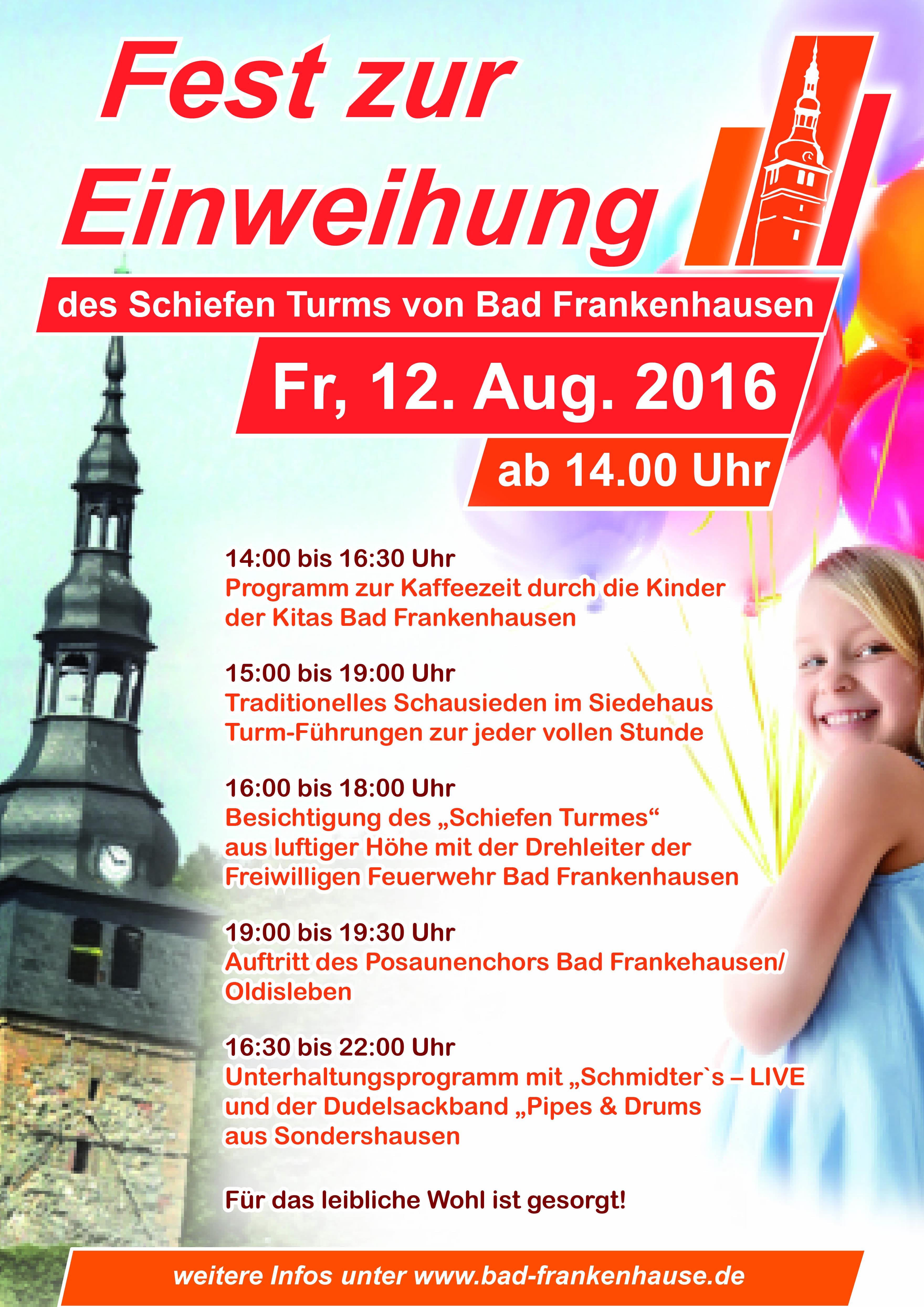 Fest zur Einweihung des Schiefen Turms von Bad Frankenhausen
